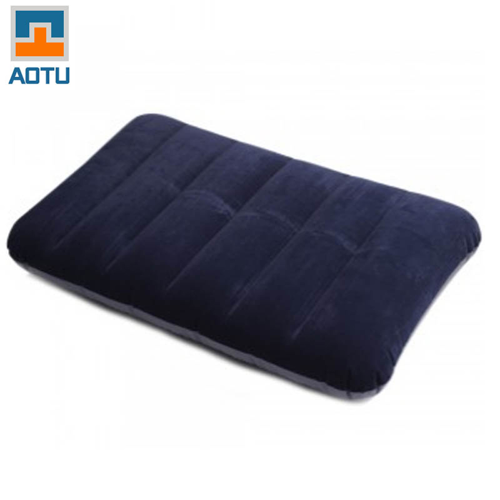 Flocking Inflatable Pillow Cushion Camp Travel Outdoor Office Rest Relax Plane Train Hotel Journey Portable Folding Dark Blue(China (Mainland))