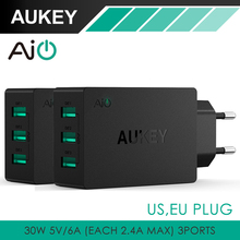 AUKEY 30W / 6A USB Travel Wall Charger Adapter with AiPower Adaptive Charging Tech & Foldable Plug; for iPhone 6S, 6, 6 Plus