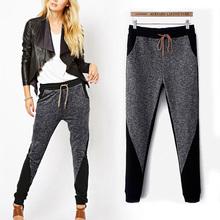 2015 Lazy Style Women Patchwork Harem Pants Sports Leggings Long Trousers Cotton Sweatpants Clothing Hip Hop Training Pants(China (Mainland))