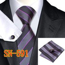 2015 Fashion Tie Striped 100% Silk Jacquard Woven Neckties gravata corbatas hanky Cufflinks Set for men Formal Wedding Party(China (Mainland))