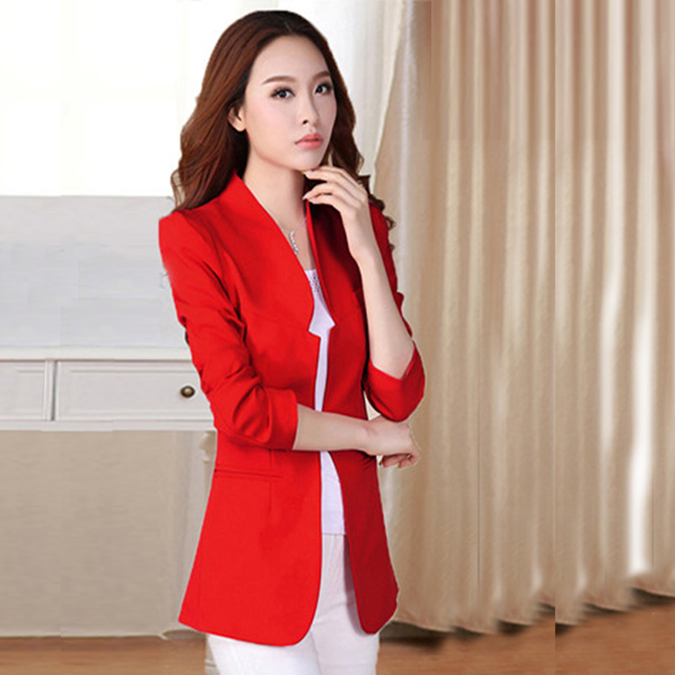 Spring Autumn New Korean Version Women Long Sections Shrug Shoulder Pads Slim Small Suit Jacket - Michelle store