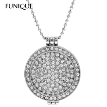 FUNIQUE Round Memory Locket Pendant Rhinestone Necklace Ball Beads Chain Necklace Women colgantes relicarios Silver Tone 77.5cm(China (Mainland))