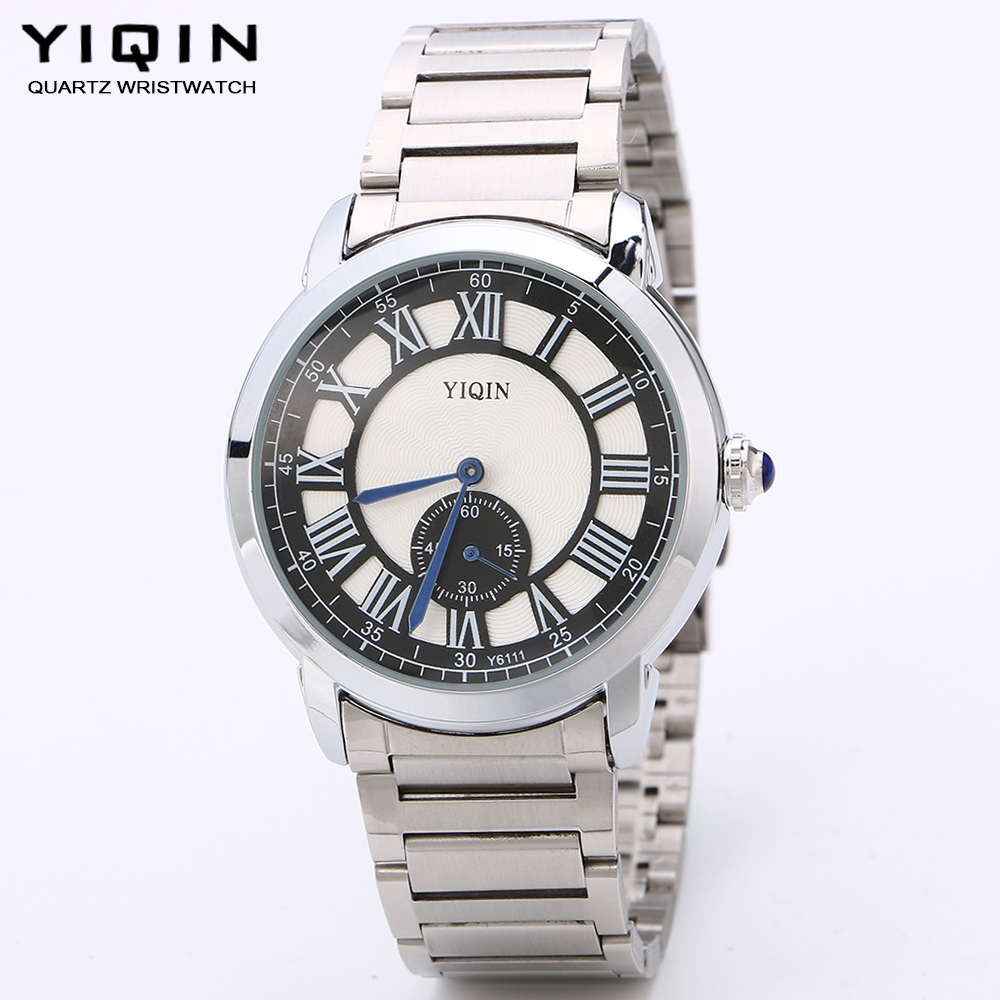 YIQIN Stainless steel men fashion casual watch outdoor watches Roman numerals luxury watches independent second hand gift watch(China (Mainland))