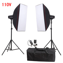 Photography Soft Box Flash Lighting Kit 360w 110V Godox Storbe Flash+Softbox+Light Stand+Trigger Receiver Photo Studio Set