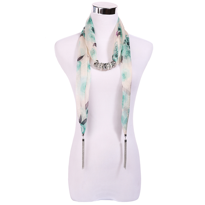 2015 Hot Selling Fashion Design Women/Lady's Jewelry Green Landscape Printing Scarf Necklace Tassels Pendant Scarves (SC150019)(China (Mainland))