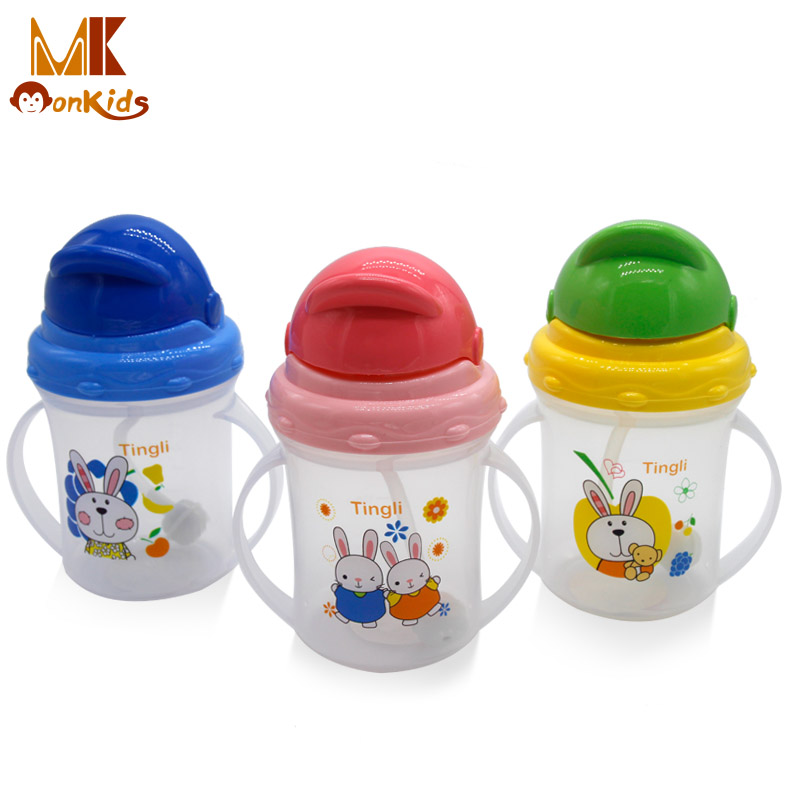 Monkids 2017 New Infant Baby Cute Rice Cereal Feeding Bottle Newborn Straw Cup Drinking Bottle Sippy Cups With Handles(China (Mainland))
