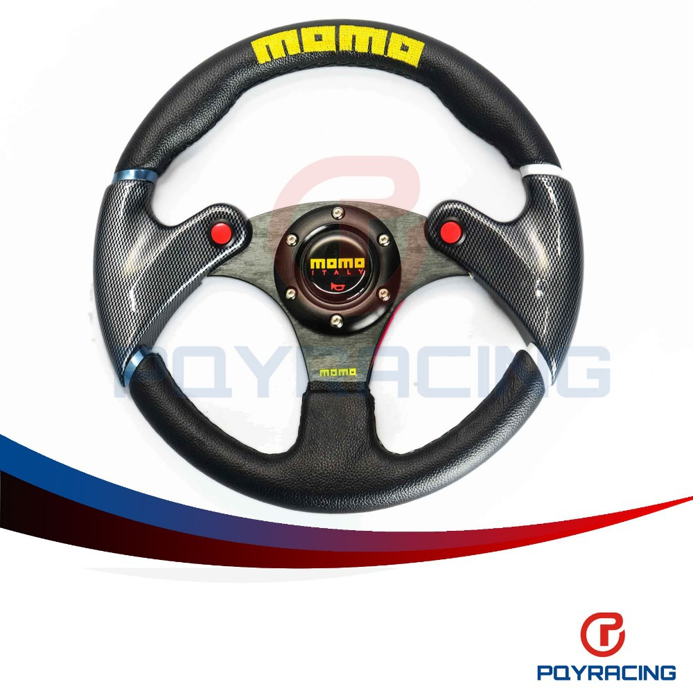 PQY STORE- NEW 32cm Black MOMO leather steering wheel and carbon fibre wheel automobile race modified PQY-SW41(China (Mainland))