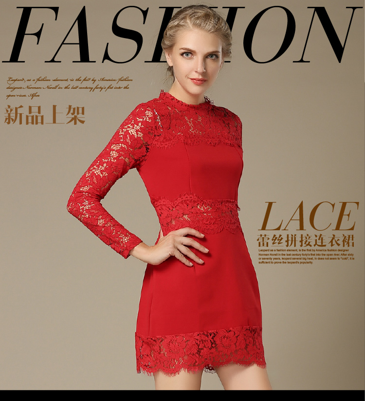 Elegant lace dress France style Lebanon England Argentina Israel American Canada hot sale lady fashion boutique red lace dress(China (Mainland))