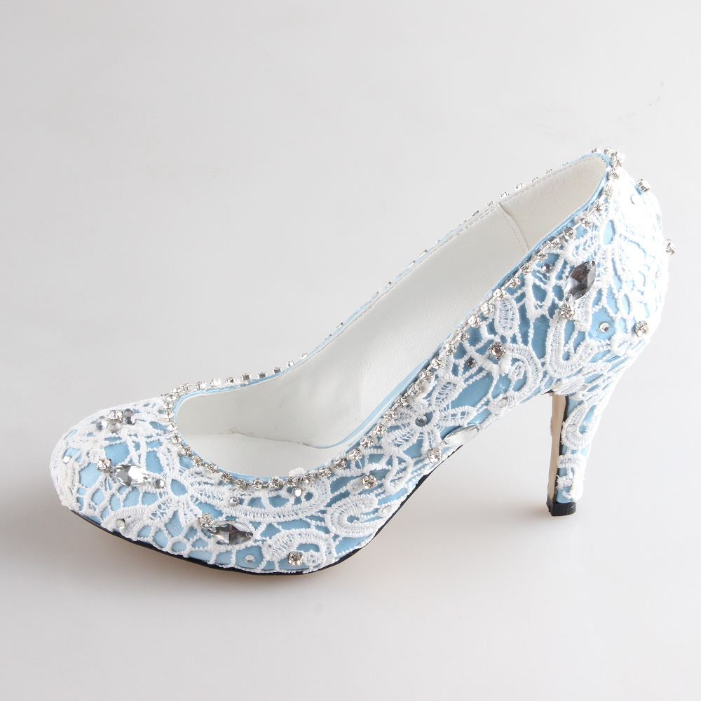 handmade blue white two layer lace bridal shoes