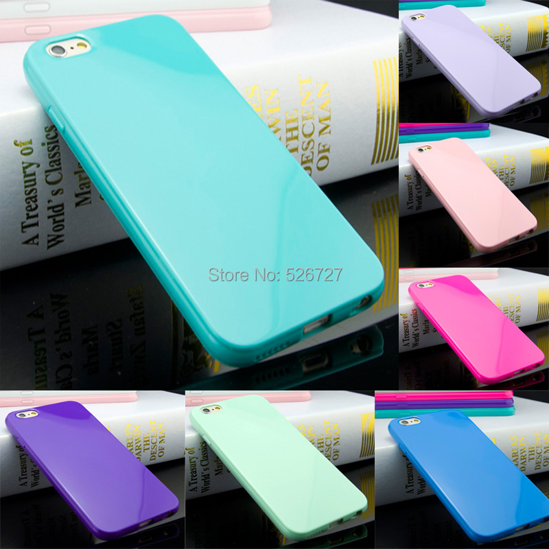 4.7'' Candy Color Soft TPU Silicone Skin Back Case Cover For iPhone 6 4.7inch Mobile Phone Bag(China (Mainland))