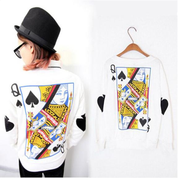 2015 Women Girl Tee Harajuku Cartoon Playing Cards Queen Printing Casual O-Neck Sweatshirts Hoodies(China (Mainland))