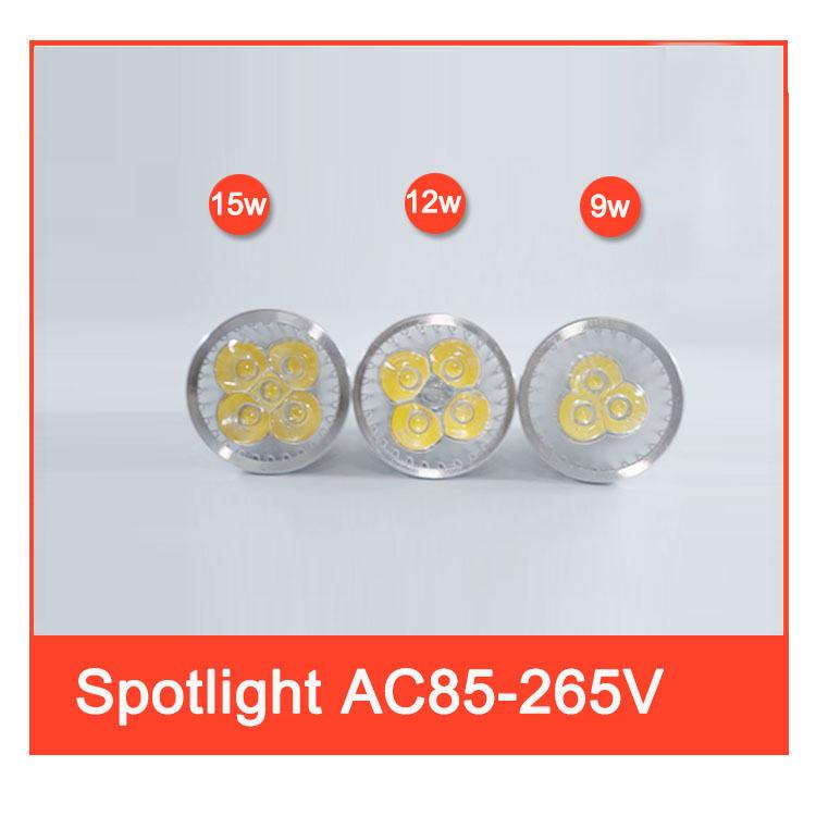 10pcs/lot GU10 Mr16 Led spotlight Cree high power 9w 12w 15w high bright led bulb 110V 220V 85-265V led Light led lamp spotlight(China (Mainland))