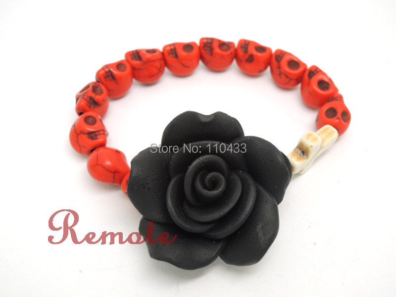 Red  sugar skull with clay fimo big black rose cross day of the dead bracelet, wedding jewelry  BF160<br><br>Aliexpress