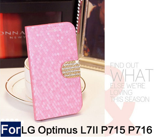 Diamond stone for LG Optimus L7 II/2 P715/P716 P714 Luxury PU Leather Flip Cell Phone Cover case With Stand Gift+free shipping(China (Mainland))