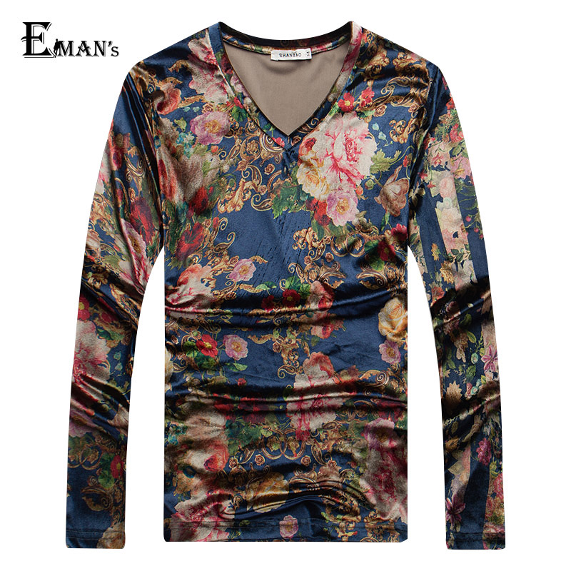 Mens Long Sleeve Velvet T Shirt Plus Size M-5XL 2016 Fashion Spring V Neck Floral Print T Shirt Men XK128Одежда и ак�е��уары<br><br><br>Aliexpress
