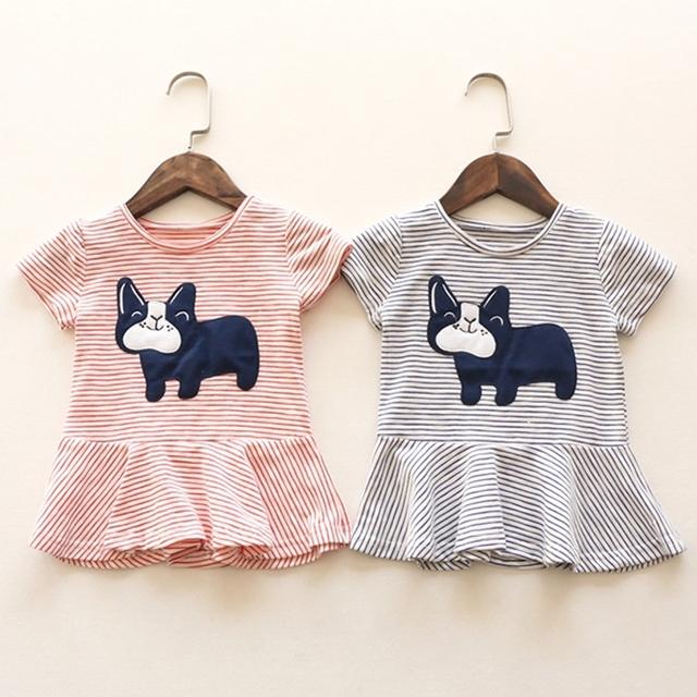 Новые летом 2016 новорожденных футболки для девочек хлопка с коротким рукавом щенок собака марка тройники полосатые платье вершины девушка футболки