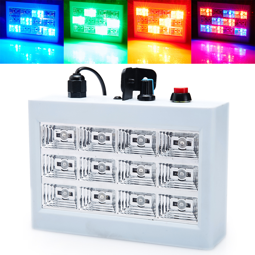 Mini Sound Activated 12RGB LED Stage Strobe Lighting Equipment For Disco DJ Party Music Show LED Stroboscope Projector(China (Mainland))