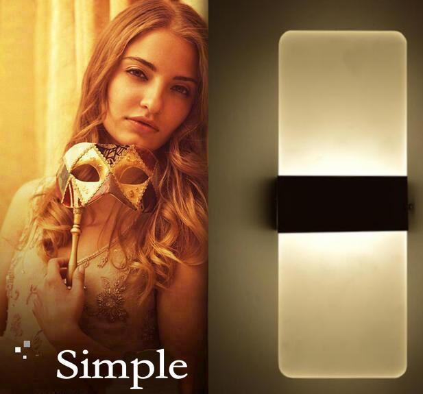 Mini Acrylic wall lamp bedside lamp modern minimalist bedroom living room hallway light 3w Warm white LED Wall Sconce<br><br>Aliexpress