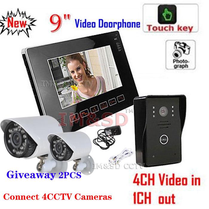 "9"" Ultra-slim LCD Video Door Phone Doorbell Touch Key IR CCTV Cameras Intercom System with SD Card +Giveaway 2PCS 540TVL Camera(China (Mainland))"