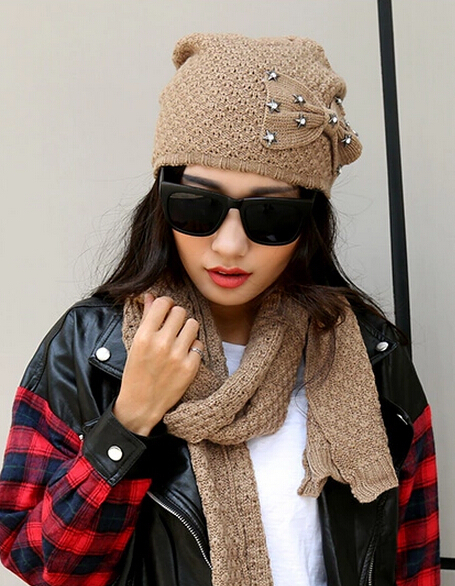Campus Style hat scarf winter twinset Sweet Bow warm cap Comfortable soft scarves female 5color 1set(China (Mainland))