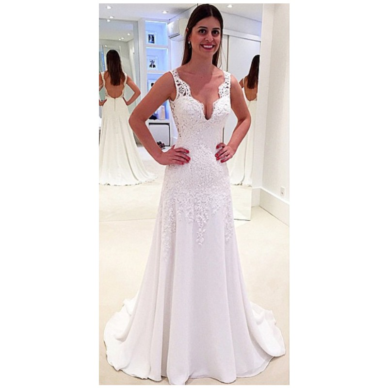 Simply summer sleeveless v neck wedding dresses lace long for Simply be wedding dresses