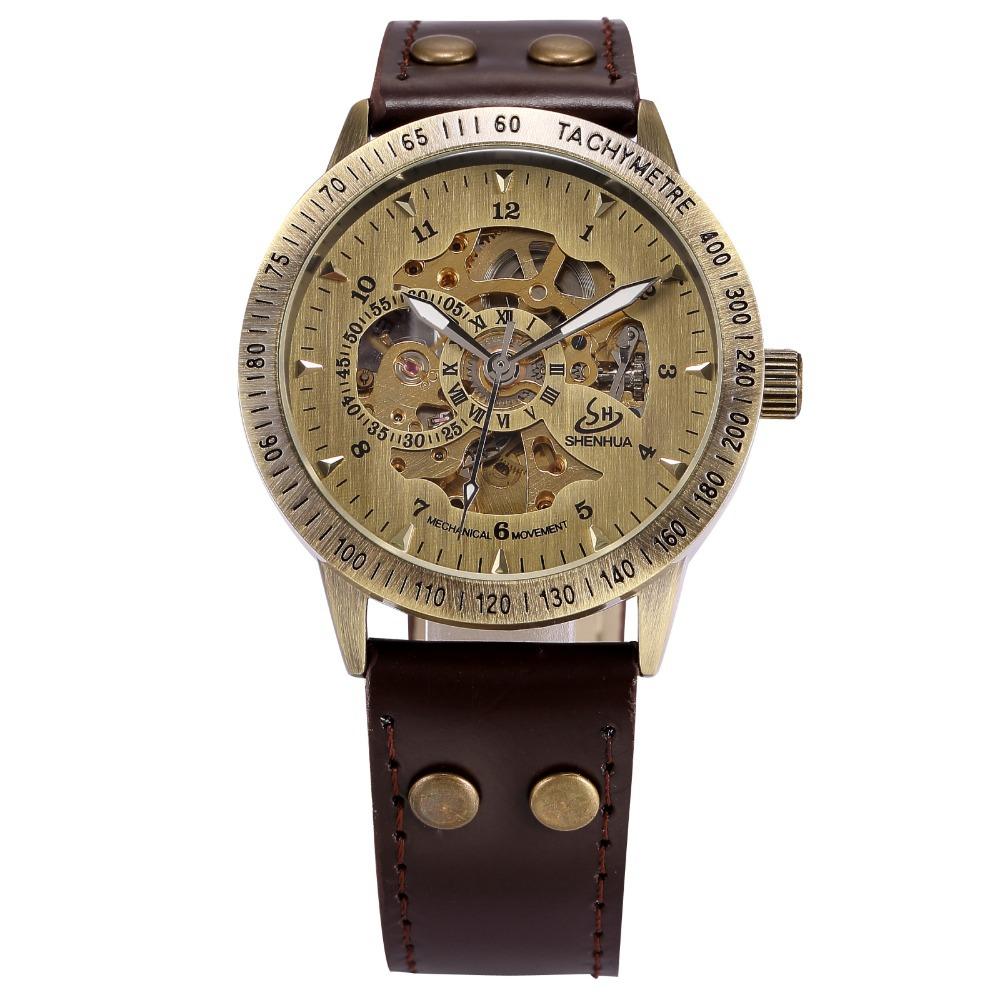 Гаджет  Vintage Bronze Case Men Skeleton Analog Male Clock Black Leather Strap Steampunk Mechanical Automatic Self Wind Watch / PMW365 None Часы