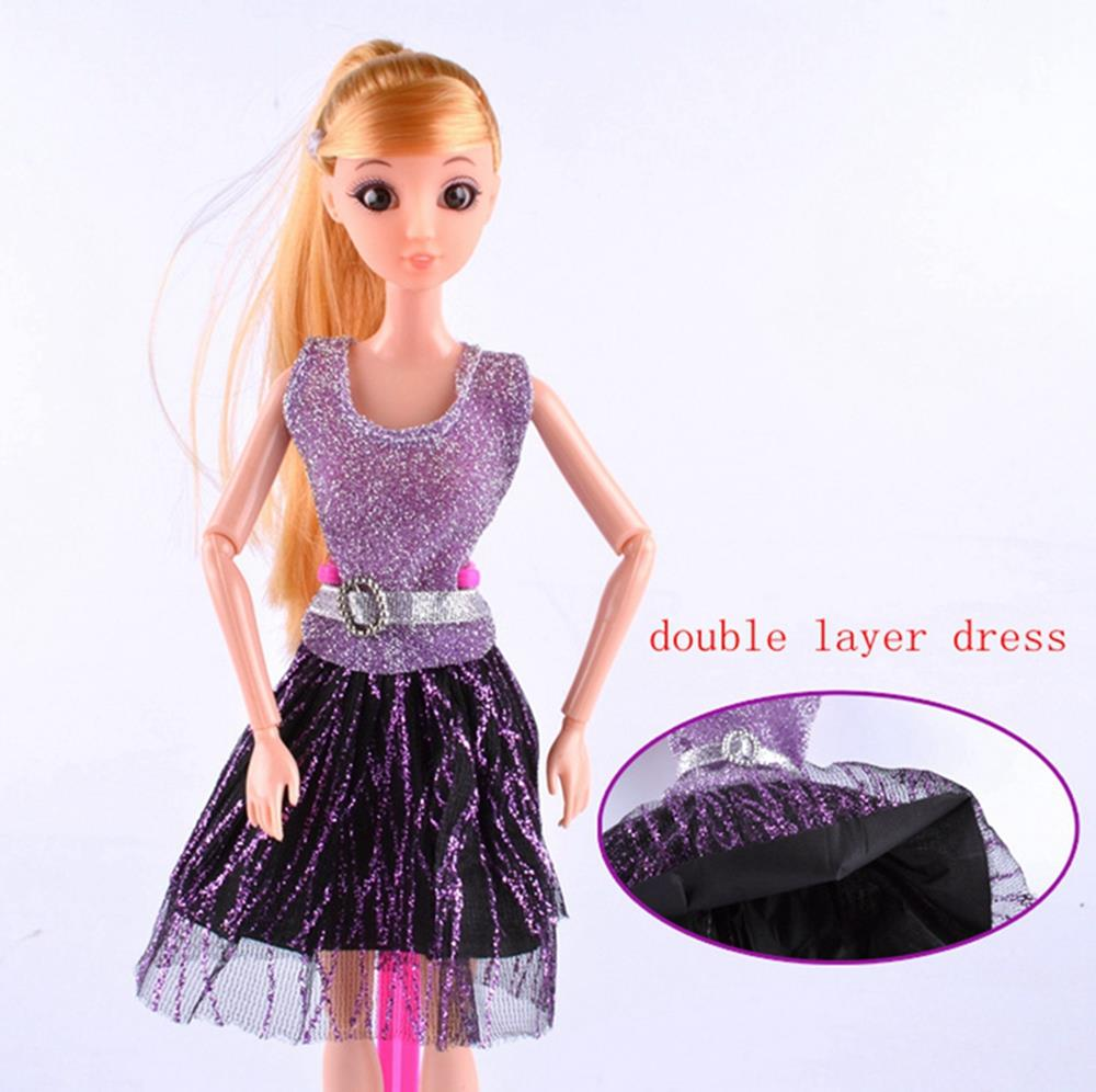 Casual Doll Clothes One Piece Patchwork Purple Glitter Short Dress For Barbie Dolls For 1/6 BJD Doll House Doll Accessories