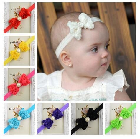 Look!! Fashion 15 Colors In Stock!Hot Sale 20pcs/lot New Cute Baby Girl Kids Handband Lace Bow Flower Hariband Jewelry Making!(China (Mainland))