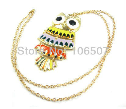 free shipping  10pcs cool Colorful owl necklace beautiful choker trendy necklace sweater chain fashion hot sell new