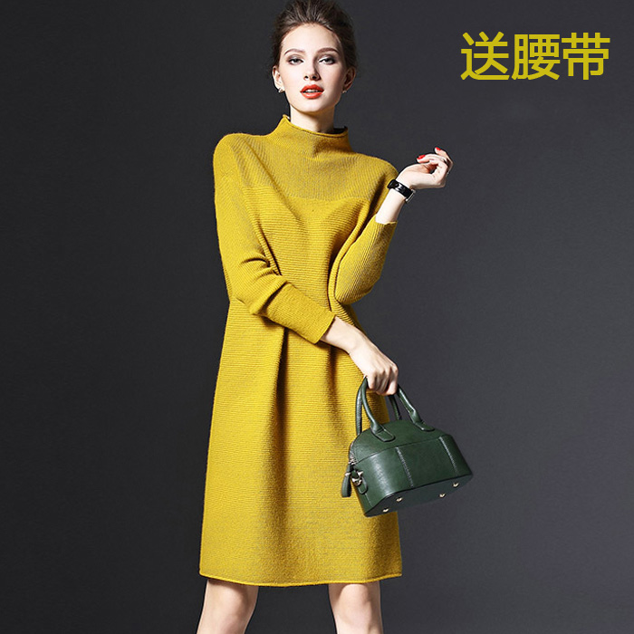2016 Spring Sweaters women's red knitted one-piece dress autumn and winter Women sweater female medium-long pullover loose