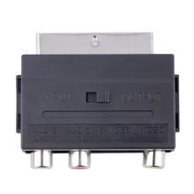 SCART A 3 RCA Phono con SVHS Adaptador de S-video Compuesto De Entrada/Salida Interruptor