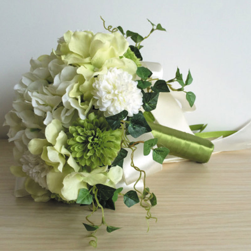 Artificial Wedding Bouquets Green Bride Holding Flowers Cheap Wedding