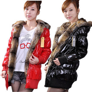 Plus size winter women outerwear fur collar hooded cotton-padded jacket thickening slim medium-long patent leather wadded - Online Store 514595 store