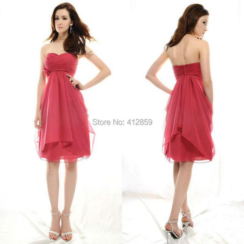 Y2 Simple But Elegant Sweetheart Empire Knee Length Chiffon Beach Wedding Guest Dress Ruched