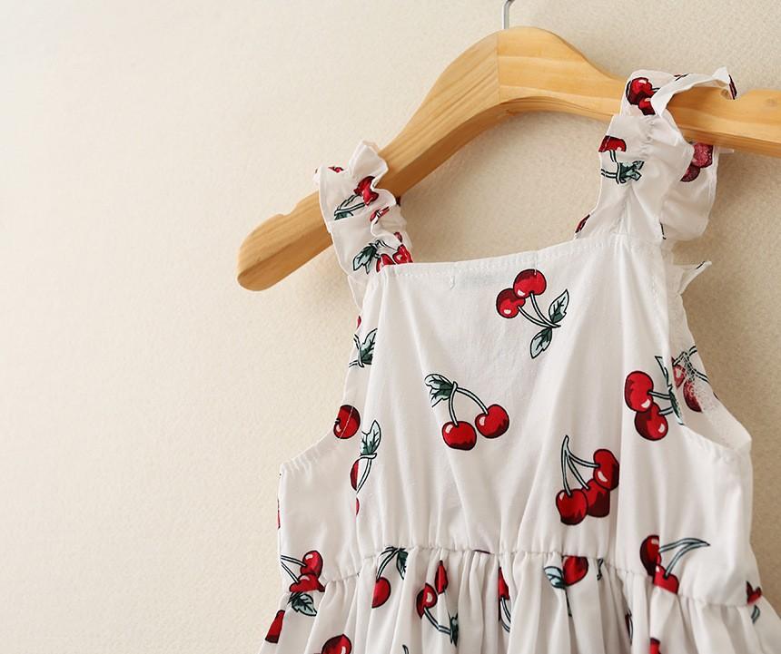 2015 summer new girls cherry cotton braces shirt