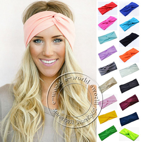 New 19 Colors Women Stretch Twist Headband Turban Sport Yoga Head Wrap Bandana Headwear Hair Accessories Free Shipping A0406(China (Mainland))