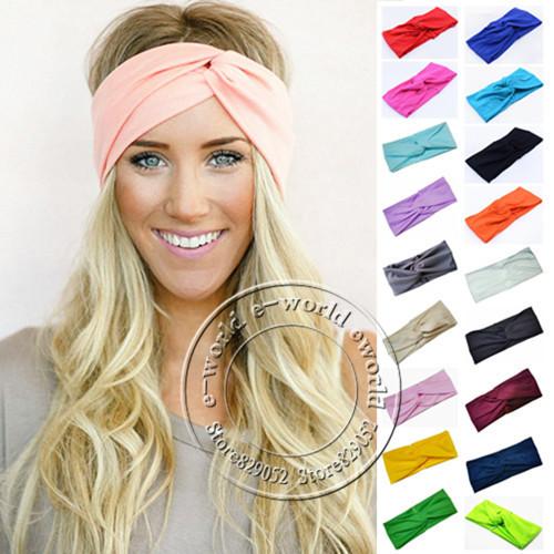 New 19 Colors Women Stretch Twist Headband Turban Sport Yoga Head Wrap Bandana Headwear Hair Accessories Free Shipping A0406(China (Mainland))