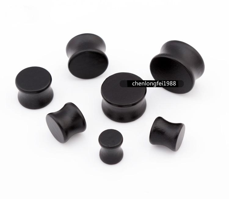 Pair Black Solid Wood Ear Plugs Flesh Tunnels Gauges Earlets 8mm-20mm - enjoy life' store