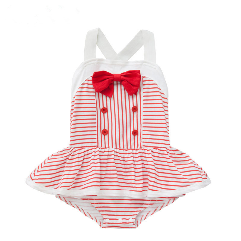 Wholesale 6pcs/lot infant dress baby clothing striped bow baby rompers infant ruffle princess coveralls girls clothes<br><br>Aliexpress