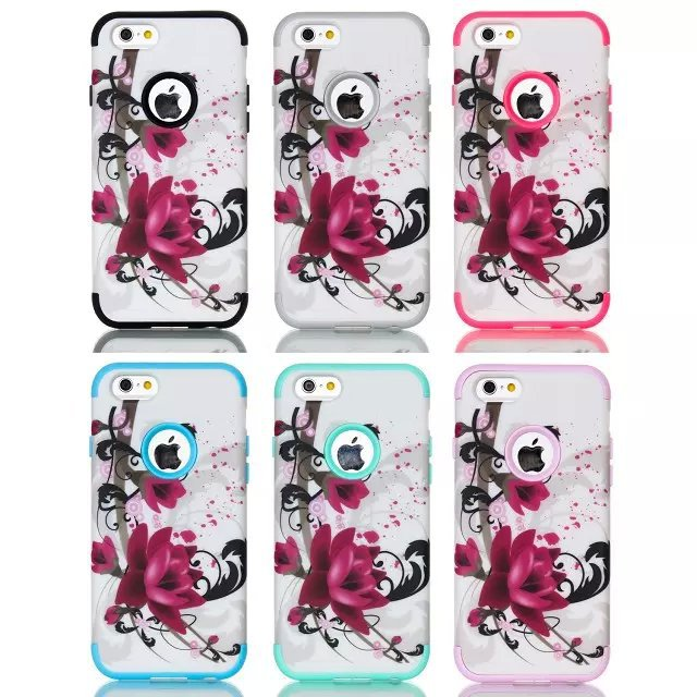 For Apple iPhone 6 4.7inch Robot New Hybrid Impact 3 in 1 Lotus Flower Heavy Duty PC Silicone Combo Case Skin Cover(China (Mainland))