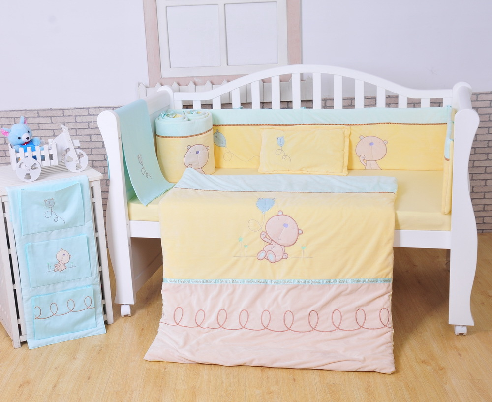 Baby bed online shopping - 2016 New Style 7pcs Cotton Baby Cot Bedding Set Newborn Cartoon Crib Bedding Detachable Quilt Pillow
