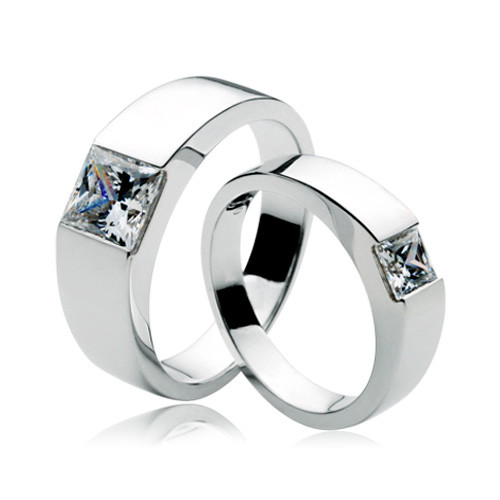 2.5Ct Princess Cut Synthetic Diamond Ring for Lovers Luxury Quality Female & Male Jewelry Real 14K White Gold Exquisite Craft(China (Mainland))