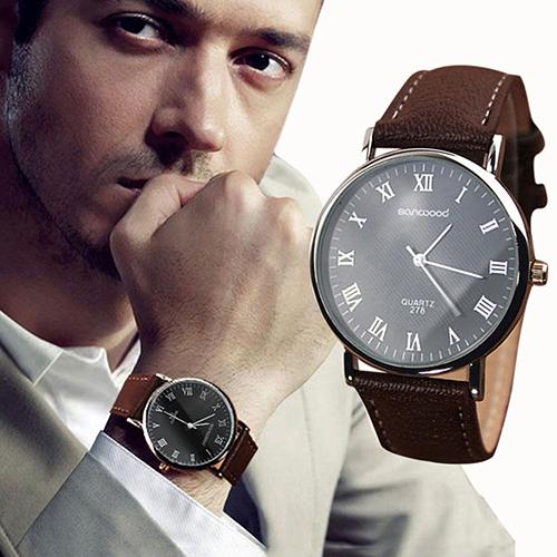 2015 hot Men's Roman Numerals Faux Leather Band Quartz Analog Business Wrist Watch 4DAU 6T5M C2K5W