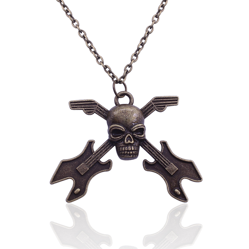 2016 New Europe And America Retro Skull Guitar Instrument Long Necklace Sweater Chain necklaces & pendants vintage Jewelry(China (Mainland))