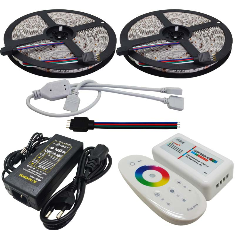 10M Flexible RGB Led Strip SMD 5050 Christmas Lights Tape Light + 2.4G Touch Panel RF Led Remote Controller+12V 6A Power Adapter(China (Mainland))