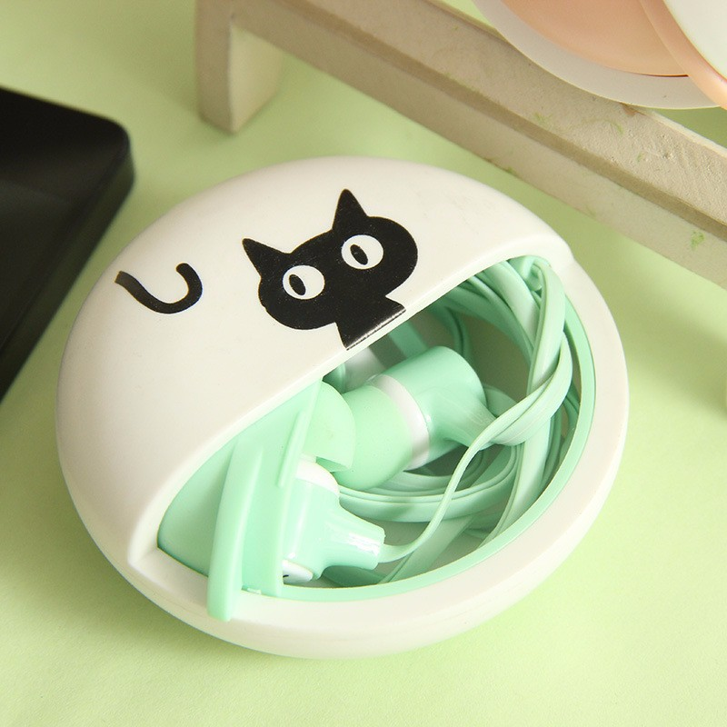 Cute Cat Macarons 3.5mm in-ear Stereo Earphones with Earphone Case for Phone Xiaomi Girls Kid Child Student for MP3 MP4 Gift