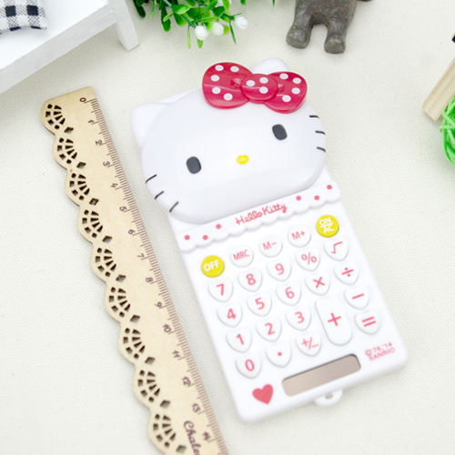 Kawaii Pretty High Quality Hello Kitty 8 Digits Electronic Cartoon Calculator Student Stationery Solar Energy Type HZA009B(China (Mainland))