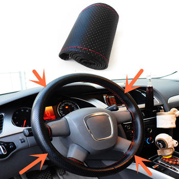 Universal DIY Car Steering Wheel Cover With Needles Thread Auto Steering wheel 38cm Black/Gray/Beiga Car covers auto styling