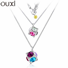 NLA091 Double Small Treasure Boxes Pendant Necklace Top Austrian Crystal Thick White Gold Plated Free Shipping