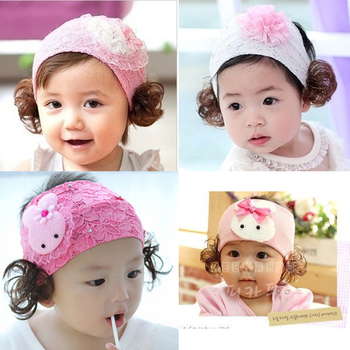 Promotion Free Shipping Baby wig hair band baby heart headband pearl hair accessory princess lace hair high quality y2518